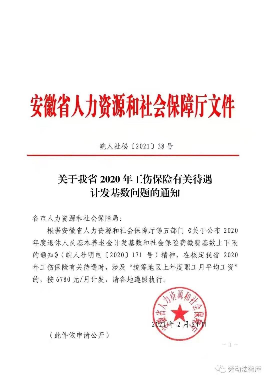 安徽省2020年工伤保险有关待遇计发基数问题的通知(2021年合肥工伤职工月平均工资为6780元)
